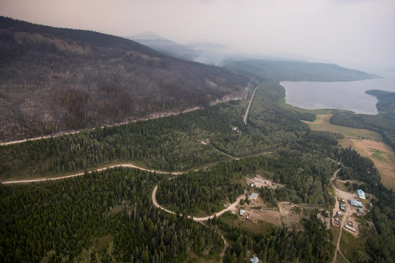 <p>Homes are seen near where the Shovel Lake fire burned in Fraser Lake, B.C., on Thursday, Aug. 23, 2018.<br />(Photo by Darryl Dyck, The Canadian Press) </p>