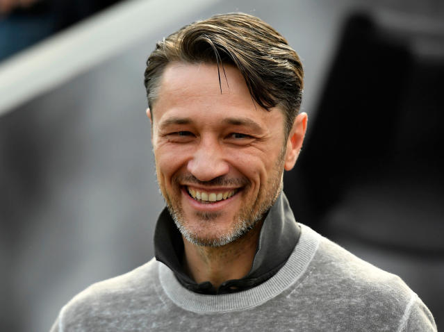 FILE - In this April 14, 2018 file photo Frankfurt's head coach Niko Kovac smiles prior to the German Bundesliga soccer match between Bayer Leverkusen and Eintracht Frankfurt in Leverkusen, Germany. Bayern Munich will get a good look at its next coach when Eintracht Frankfurt visits for a rehearsal of the German Cup final on Saturday April 28, 2018. Kovacs switch has soured relations between the clubs even if both now insist that bygones are bygones. (AP Photo/Martin Meissner,file)