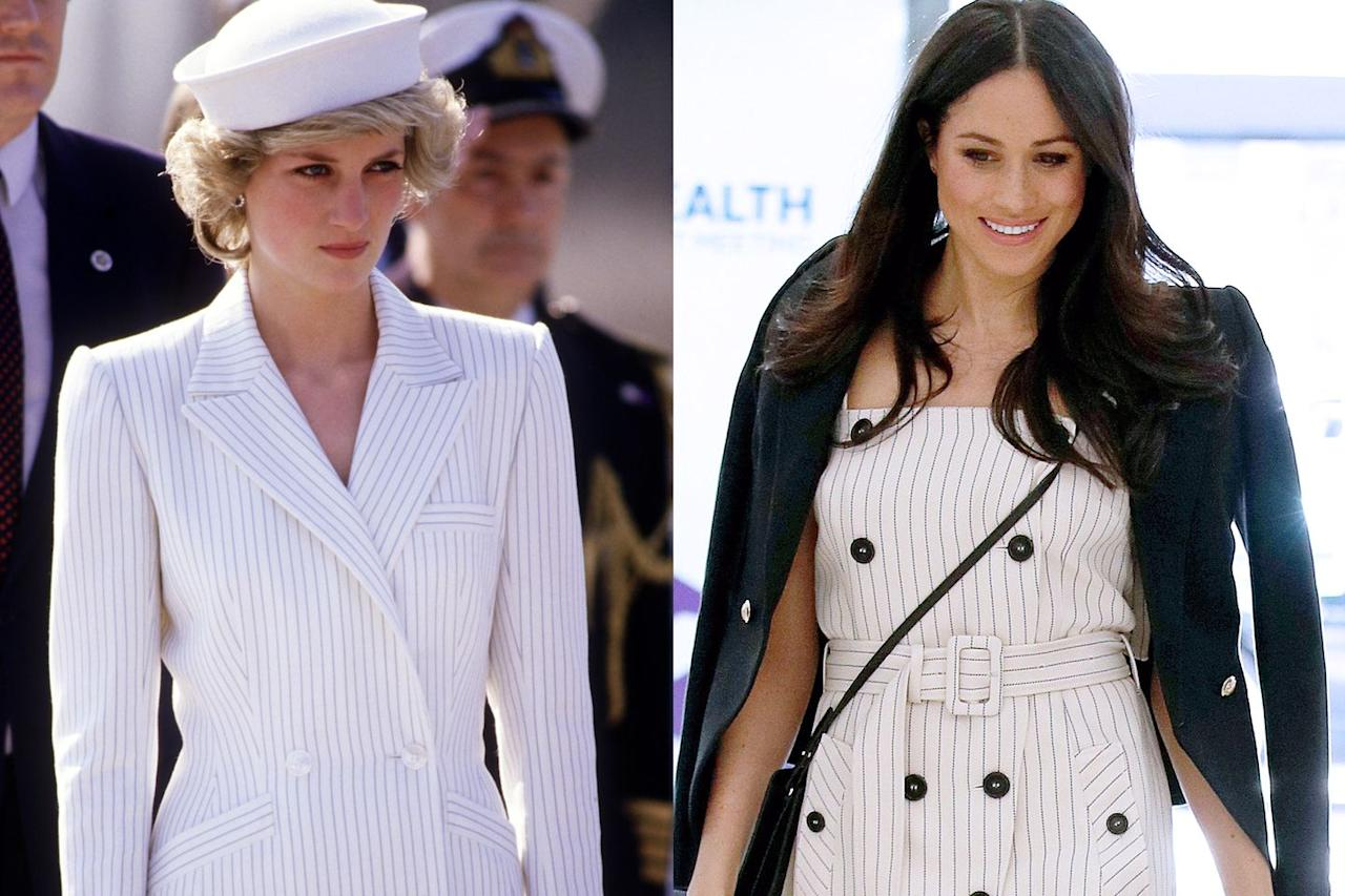 <p>Stripes for days! Princess Diana arrived to a naval base in 1985 in a crisp pinstripe suit with a matching white hat. Meghan brought the same polished vibes with her Altuzarra belted dress in 2018 at a reception with delegates from the Commonwealth Youth Forum in central London.<br></p>