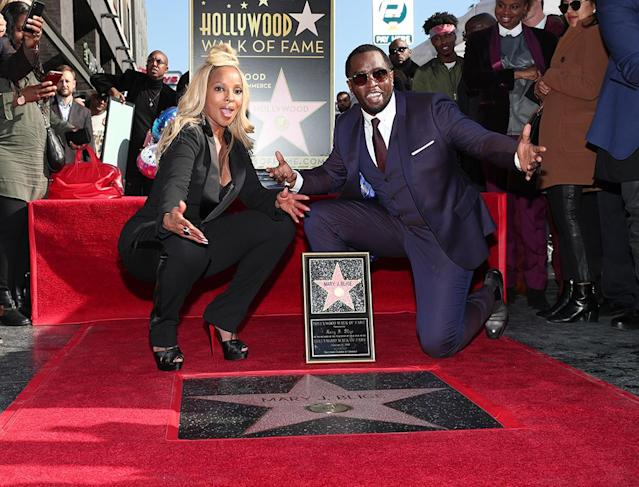 "<p>The award-winning singer and actress had two reasons to celebrate on Thursday, as she received a star on the Hollywood Walk of Fame and turned 47. ""I am so grateful,"" Blige said during the ceremony. ""On this day, my birthday, God put my name on a star."" Combs was on hand to speak on his good friend's behalf. ""We have been through a whole lot. We started from nothing,"" he said. ""What makes Mary special, she moves people with not just her voice but with who she is. She pours everything into a record and into a performance. Whatever she is going through, she knows she has a responsibility for those going through the same thing."" (Photo: Rich Polk/Getty Images for Netflix) </p>"