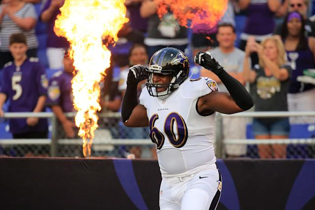 Eugene Monroe during the first half of an NFL pre-season game at M&T Bank Stadium on August 7, 2014 in Baltimore, Maryland. Rob Carr/Getty