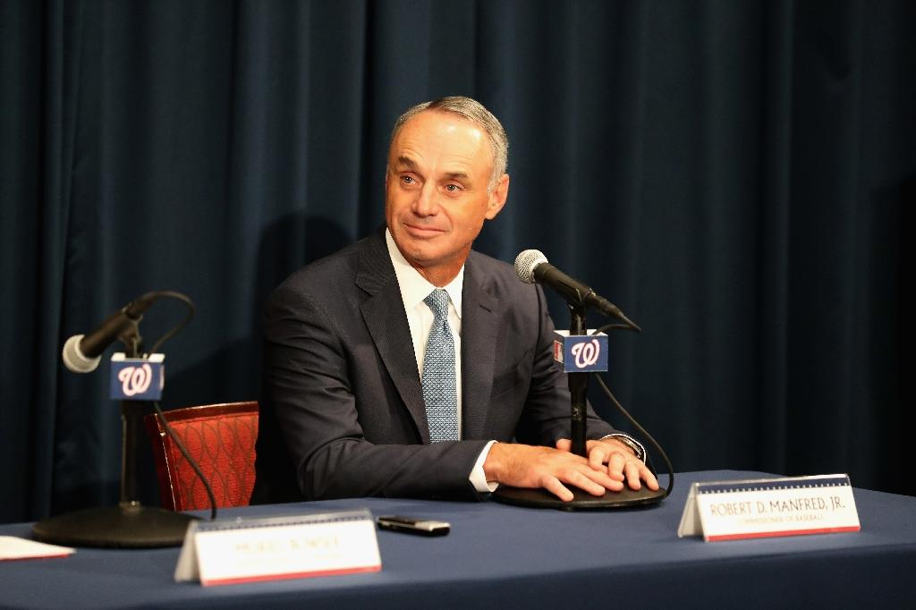 Commissioner of Baseball Robert D. Manfred Jr. said today's athletes are bigger, stronger and faster than in previous years (AFP Photo/Rob Carr)