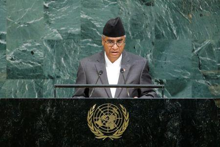 Nepalese Prime Minister Bahadur Deuba addresses the 72nd United Nations General Assembly at U.N. headquarters in New York