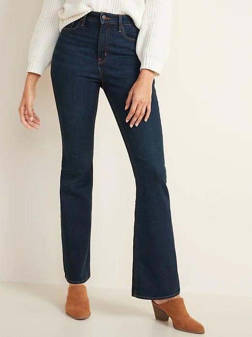 <p>Since these <span>Old Navy Extra High-Waisted Flare Jeans for Women</span> ($35, originally $40) come up very high, the contoured waistband fits just right without gaps or sags in the back.</p>