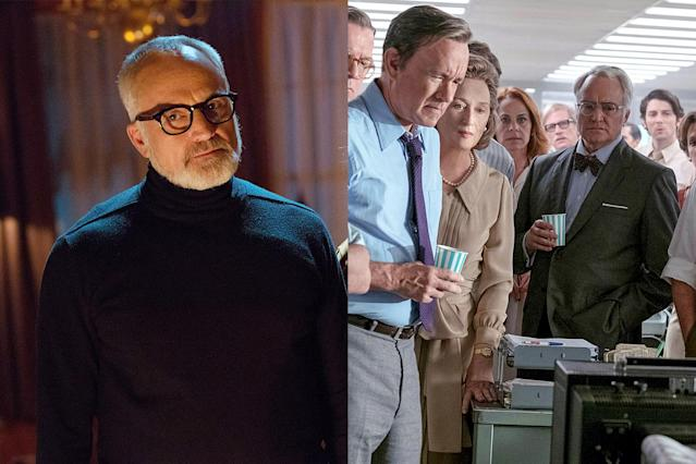 <p>When planning your next garden party, maybe leave noted troublemaker Bradley Whitford off the list. As the Armitage family patriarch in <em>Get Out</em>, Whitford holds court over a backyard soiree that secretly doubles as a sinister auction. And for <em>The Post</em>, he plays a composite character who tries to persuade the very real <em>Washington Post </em>owner Katharine Graham not to publish their bombshell Pentagon Papers story in the middle of a gathering of Washington's elite. (Photo: Universal Pictures/20th Century Fox Film/Courtesy Everett Collection) </p>