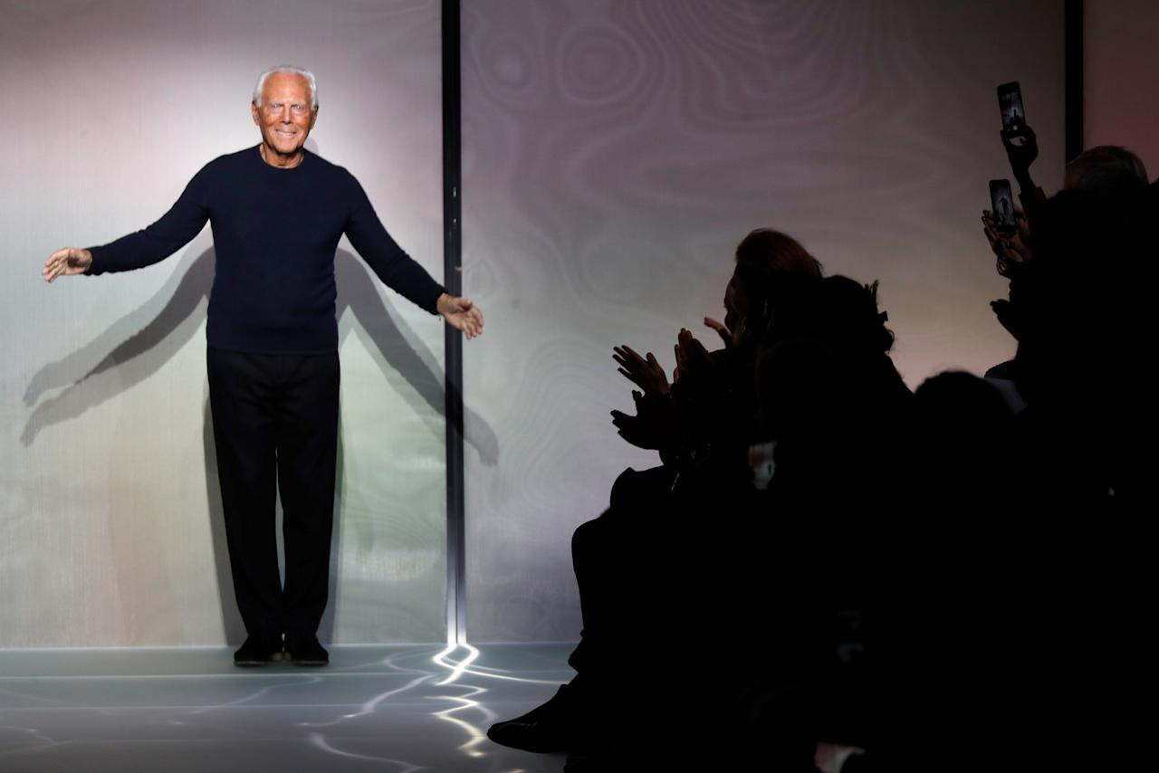 Italian designer Giorgio Armani appears at the end of his Haute Couture Spring-Summer 2018 fashion show for Giorgio Armani Prive in Paris, France, January 23, 2018.   REUTERS/Charles Platiau