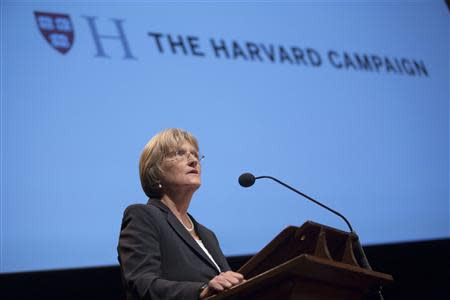 """Harvard President Drew Faust speaks during """"The Opportunity to Make a Difference"""" campaign launch at Harvard University in Cambridge, Massachusetts in this September 21, 2013 handout provided by Harvard University. REUTERS/Kris Snibbe/Harvard Staff Photographer/Handout via Reuters"""