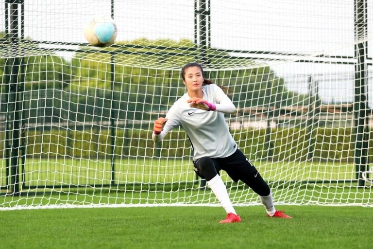 China's goalkeeper Zhao Lina is put through her paces at a training session in Shanghai