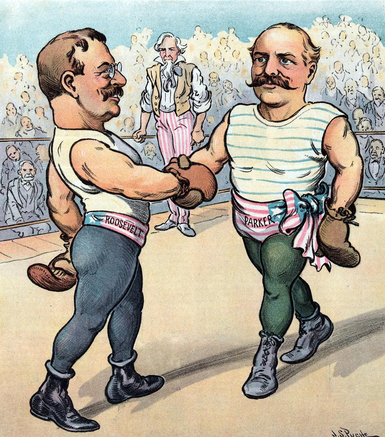 President Theodore Roosevelt and Alton B. Parker depicted as boxers in a ring, shaking hands before the start of the match. (Photo: Universal History Archive/UIG via Getty Images)