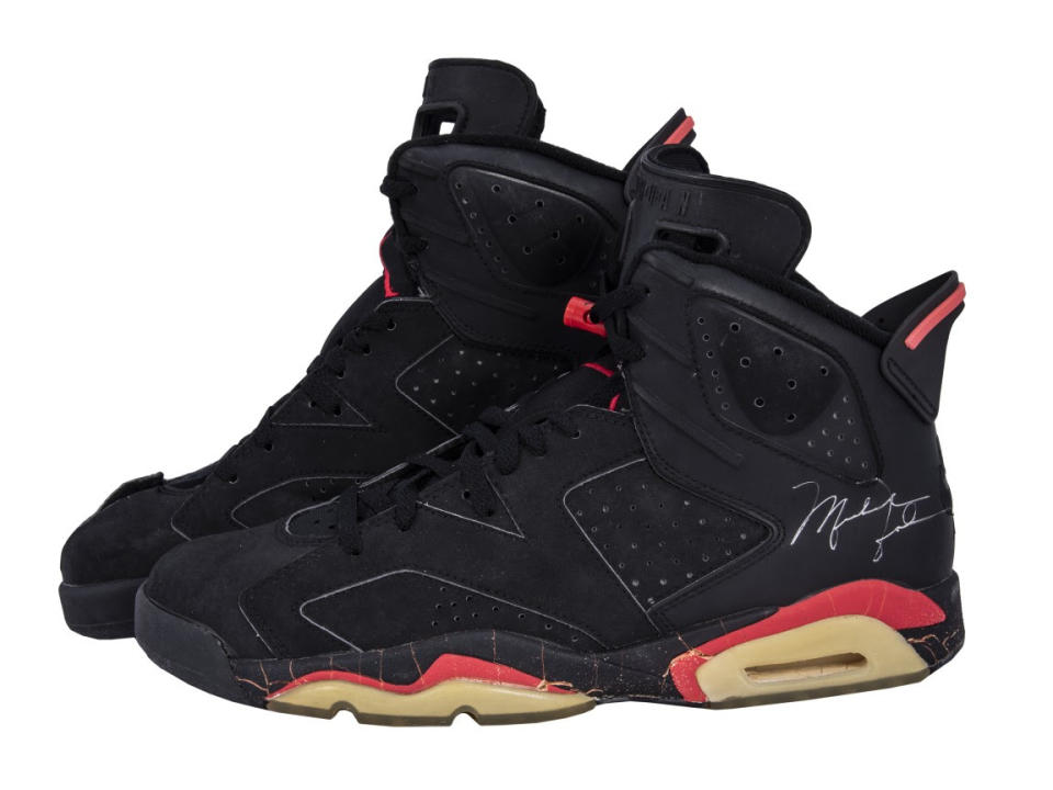 Michael Jordan's 1991 game-worn, twice-signed Air Jordan high top sneakers from Game 4 of the NBA Finals. (Sotheby's)
