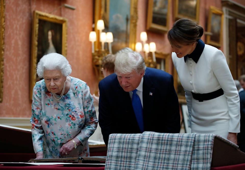President Donald Trump, first lady Melania Trump, right, and Queen Elizabeth II, walk in the Picture Gallery at Buckingham Palace, Monday, June 3, 2019, in London. (Photo: Alex Brandon/AP)