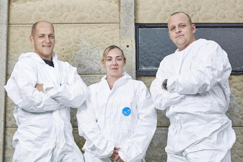 Teamwork: houseclearers Craig Groves, Kayleigh Youde and Shaun Groves: ITV