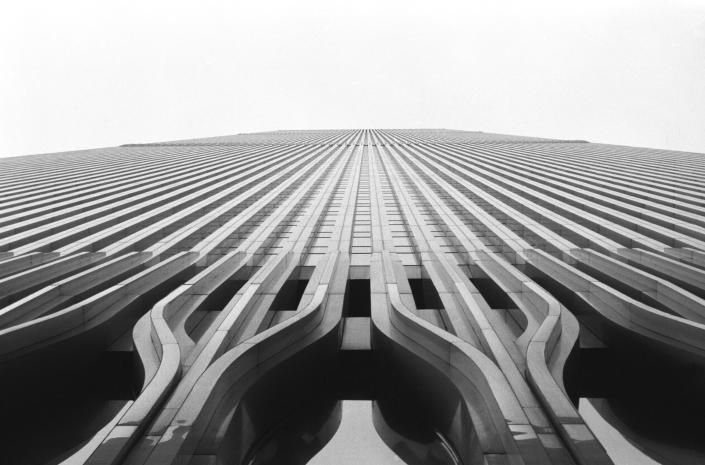 Low perspective of the World Trade Center prior to it's destruction on 911. (Daniel Stein/Getty Images)