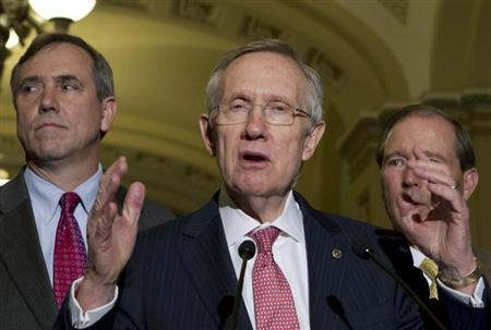 U.S. Senate Majority Leader Harry Reid speaks to reporters at Capitol Hill in Washington