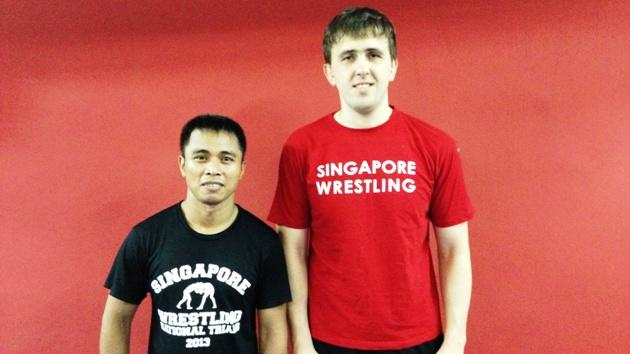 Volunteer coaches Hubarevich and Santos take charge of training Singapore's national wrestling team. (Yahoo! Photo)