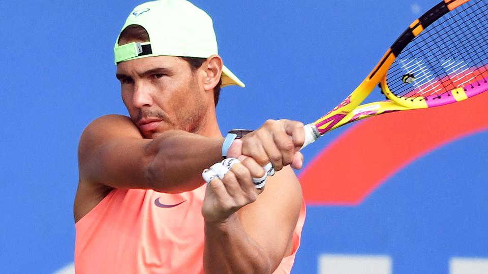 After being unable to compete at the Tokyo Olympics, Rafael Nadal returned to action at the Citi Open in Washington. (Photo by Mitchell Layton/Getty Images)