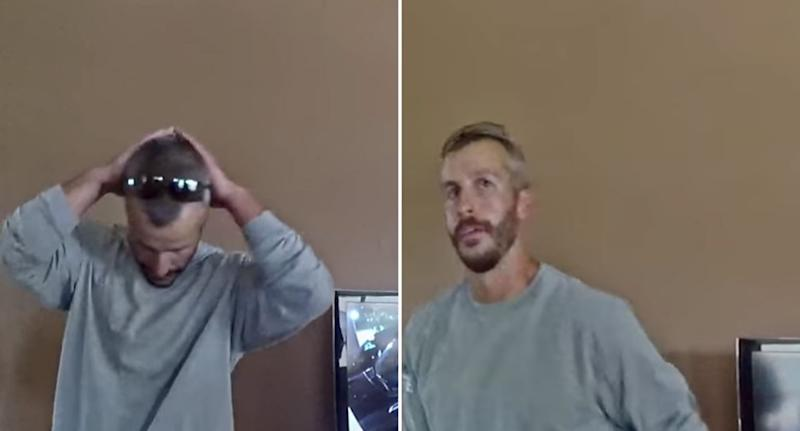 Chris Watts speaks to a police officer and neighbour about CCTV footage. Source: Netflix