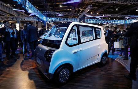 Mahindra showcases its new electric vehicle, ATOM, at the India Auto Show in Greater Noida, India February 7, 2018. Picture taken February 7, 2018. REUTERS/Saumya Khandelwal