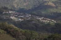 The town of Campohermoso is seen from above in Colombia, Wednesday, March 17, 2021. According to the Health Ministry, Campohermoso is one of two municipalities in Colombia that has not had a single case of COVID-19 since the pandemic started one year ago. (AP Photo/Fernando Vergara)