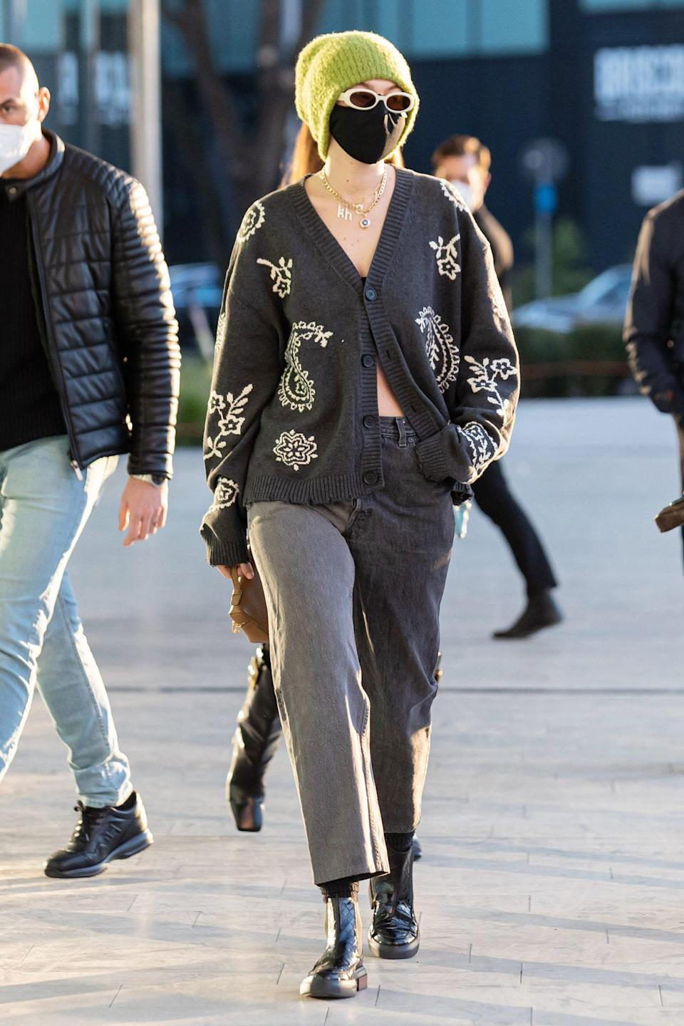 <p>Gigi Hadid is seen leaving Versace's headquarters on Sunday in Milan during Milan Fashion Week.</p>