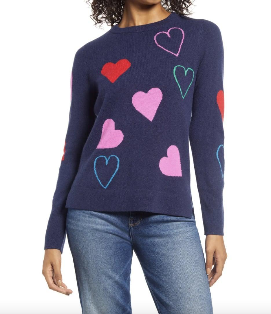 <p>This <span>Halogen Heart Cashmere Sweater</span> ($70, originally $149) is perfect for Valentine's Day, and you can wear it year-round.</p>