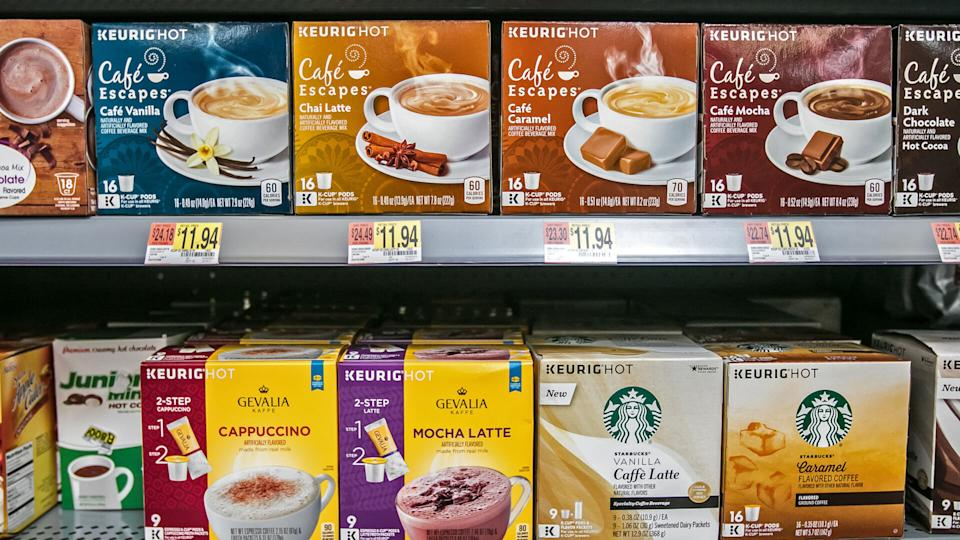 Egg Harbor Township, NJ, December 10, 2017: Packs of variously branded coffee Keurig capsules are offered for sale in a Walmart store.
