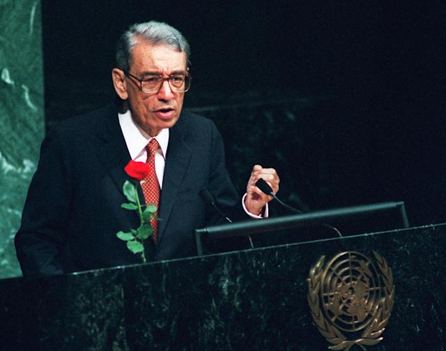 <p>Boutros Boutros-Ghali, an Eygptian politician and diplomat who served as Secretary-General of the United Nations from 1992-1996, died from complications from a fall on February 16. He was 93. — (Pictured) United Nations Secretary General Boutros Boutros-Ghali addresses the Socialist International conference at the United Nations in 1996. (AP Photo/Ed Bailey) </p>