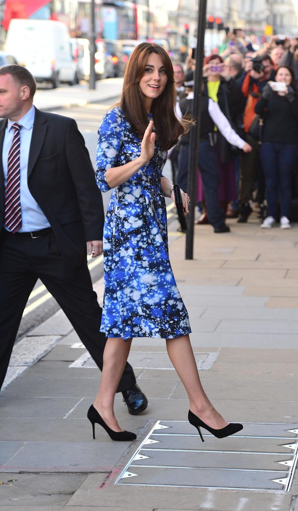 <p>Kate attended a charity event at BAFTA in a printed Tabitha Webb dress and black Jimmy Choo heels. She also carried a Mulberry Bayswater clutch in black suede.</p><p><i>[Photo: PA]</i></p>