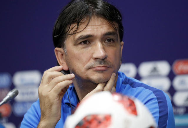 Croatia head coach Zlatko Dalic listens to a question during a news conference of the Croatian national team at the 2018 soccer World Cup in Moscow, Russia, Saturday, July 14, 2018. (AP Photo/Darko Bandic)