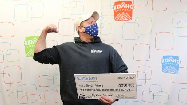 PHOTO: Bryan Moss, from Meridian, Idaho, won a quarter of a million dollars on the Idaho Lottery Scratch Game $250,000 Crossword on Thursday, Jan. 28 – his sixth big prize lottery win but his first time winning the jackpot, according to the Idaho Lottery. (KIVI-TV/Idaho Lottery)