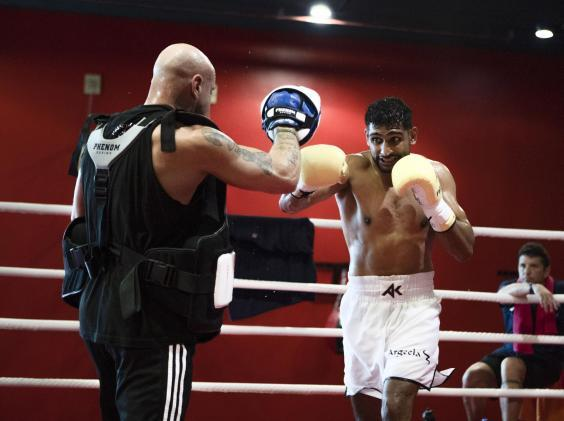 Amir Khan in training for his fight in Jeddah
