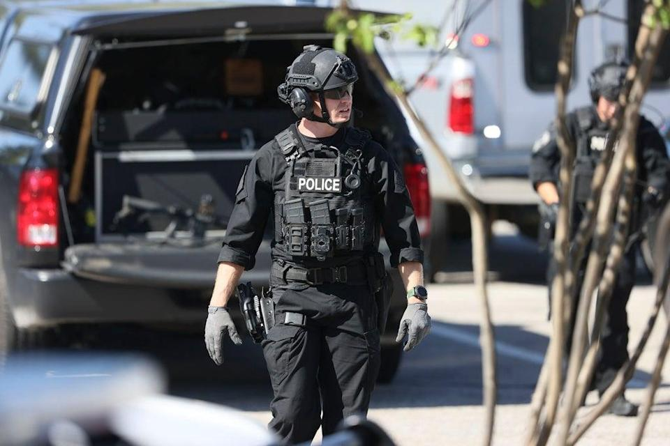 Police respond to the scene of a shooting at a Kroger's grocery store in Collierville, Tennessee (AP)