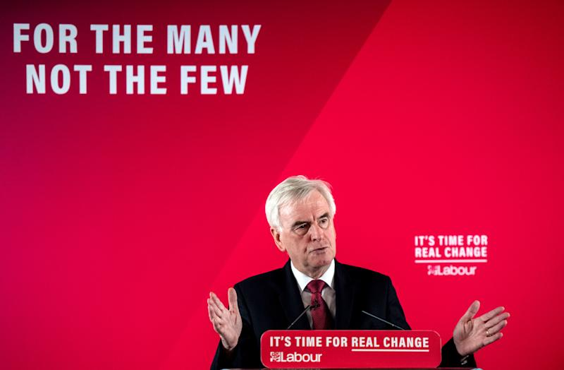 LONDON, ENGLAND - DECEMBER 09: Shadow Chancellor of the Exchequer, John McDonnell, speaks at a press conference on December 9, 2019 in London, England. Mr McDonnell spoke on behalf of the Labour Party as they and other parties enter the final three days of campaigning before the British general election on December 12, 2019. (Photo by Chris J Ratcliffe/Getty Images)