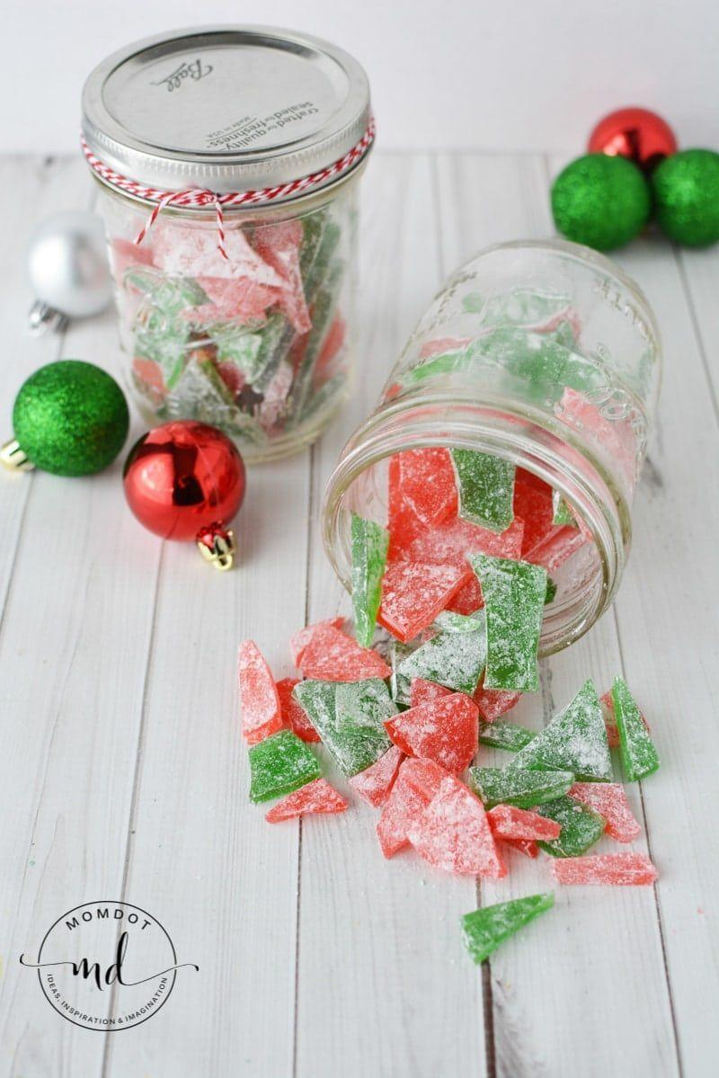 """<p>Gift this festive-colored candy in a <a href=""""https://www.countryliving.com/diy-crafts/tips/g2132/mason-jar-christmas-crafts/"""" rel=""""nofollow noopener"""" target=""""_blank"""" data-ylk=""""slk:Christmas-themed Mason jar"""" class=""""link rapid-noclick-resp"""">Christmas-themed Mason jar</a>. </p><p><strong>Get the recipe at <a href=""""https://www.momdot.com/cinnamon-rock-candy-recipe/"""" rel=""""nofollow noopener"""" target=""""_blank"""" data-ylk=""""slk:MomDot"""" class=""""link rapid-noclick-resp"""">MomDot</a>.</strong></p>"""