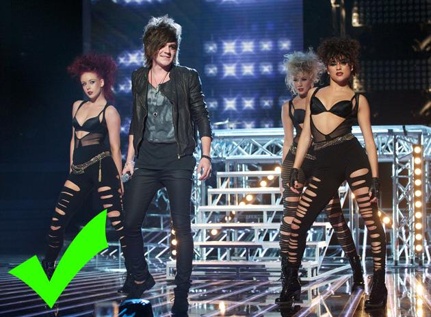 Frankie Cocozza needed to bring it this week after being in the bottom two. He certainly had the swagger for 'Get Your Rocks Off' and it was even in tune. The indulgent entrance, the dancers, it all worked with his rep. VERDICT: the naughty one is back on form.