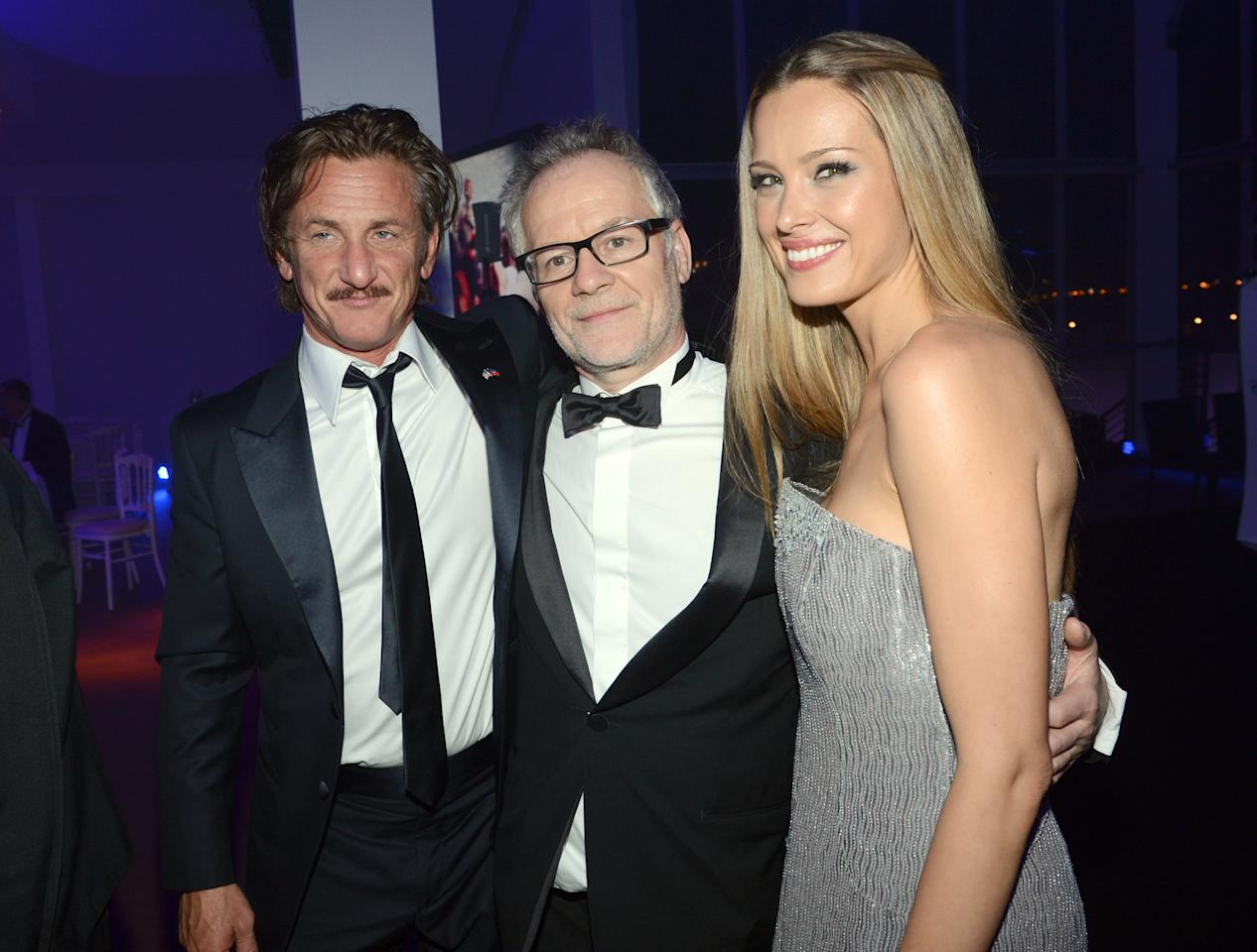 CANNES, FRANCE - MAY 18:  Actor Sean Penn, Thierry Frémaux, director Cannes Film Festival and model Petra Nemcova attend the Haiti Carnival in Cannes Benefitting J/P HRO, Artists for Peace and Justice & Happy Hearts Fund Presented By Armani during the 65th Annual Cannes Film Festival on May 18, 2012 in Cannes, France.  (Photo by Michael Buckner/Getty Images)