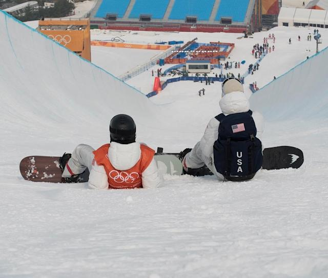 <p>Shaun White also joined in on the halfpipe practice fun with his coach and former Olympian, as well as X-Games gold medalist, JJ Thomas. (Instagram/@shaunwhite) </p>