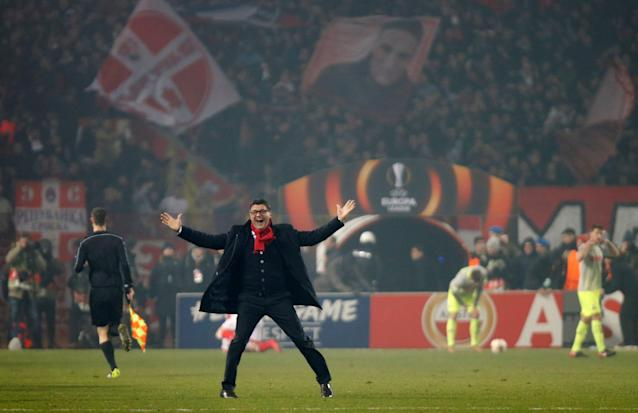 Soccer Football - Europa League - Red Star Belgrade vs FC Cologne - Rajko Mitic Stadium, Belgrade, Serbia - December 7, 2017 Red Star Belgrade coach Vladan Milojevic celebrates at the end of the match REUTERS/Novak Djurovic TPX IMAGES OF THE DAY