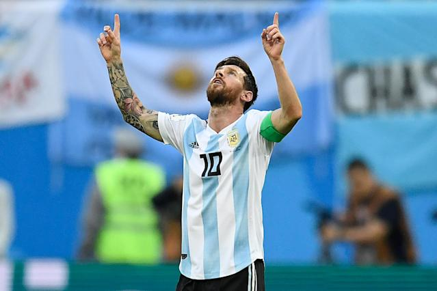 Argentina's Lionel Messi scored his first goal of the World Cup in a win-or-go-home match against Nigeria. (Getty)