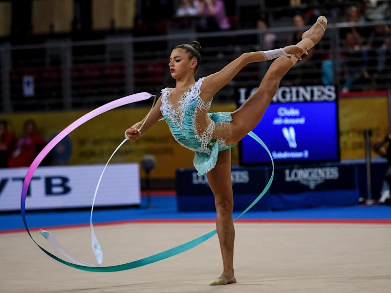Russia's Aleksandra Soldatova performs during the individual all-around final at the World Rhythmic Gymnastics Championships at Arena Armeec in Sofia on September 14, 2018. (Photo by Dimitar DILKOFF / AFP) (Photo credit should read DIMITAR DILKOFF/AFP via Getty Images)