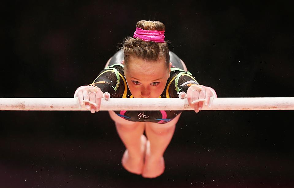 GLASGOW, SCOTLAND - OCTOBER 23: Amy Tinkler of Great Britain competes on the Uneven Bars during Day One of the 2015 World Artistic Gymnastics Championships at The SSE Hydro on October 23, 2015 in Glasgow, Scotland. (Photo by Ian MacNicol/Getty images)