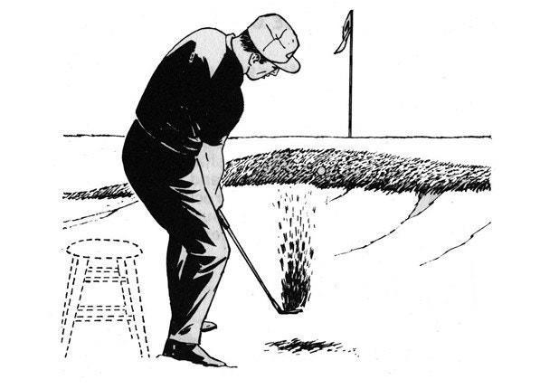 <p>If you ever watch good bunker players, you'll find that most of them have a lot of knee flex. It looks as if they're preparing to sit down on an imaginary stool. Then they swing with very little leg drive, using mostly their arms to accelerate the club.</p> <p>By crouching and swinging with your arms, you'll be less likely to raise up or drop down as you swing. You'll find it easy to make the club enter the sand where you planned.</p> <p><strong>WHAT I THINK TODAY</strong><br> Golfers lock up on sand shots, or drive through them. Knee flex promotes the right action.</p>