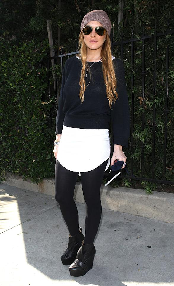 "A skirt that resembles a diaper? Really? Thankfully, Lindsay Lohan won't have to worry about wearing anything but prison garb in the coming weeks. SPW/<a href=""http://www.splashnewsonline.com"" target=""new"">Splash News</a> - September 22, 2010"