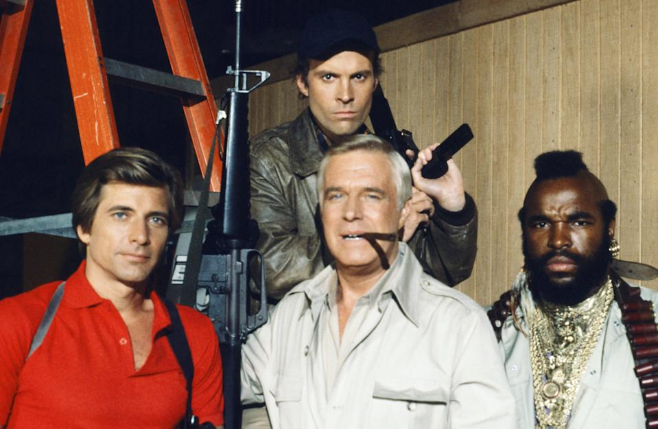 THE A-TEAM -- Pictured: (l-r front) Dirk Benedict as Templeton 'Faceman' Peck, George Peppard as John 'Hannibal' Smith, Mr. T as B.A. Baracus (back) Dwight Schultz as 'Howling Mad' Murdock -- Photo by: NBCU Photo Bank