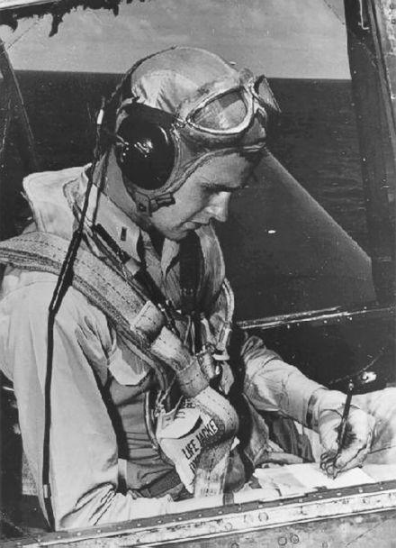 PHOTO: U.S. Navy pilot George Bush sits in the cockpit of an Avenger fighter aircraft, circa 1943-45. (George Bush Presidential Library/MCT via Getty Images, file)