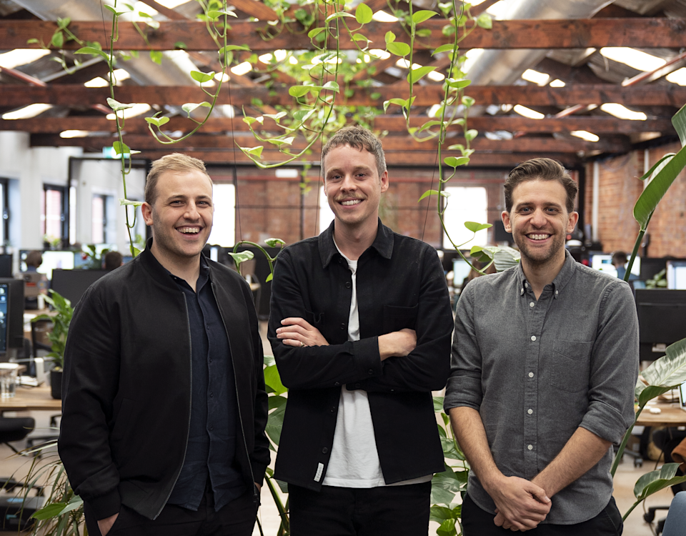 Linktree founders Alex and Anthony Zaccaria, and Nick Humphreys. Source: Supplied