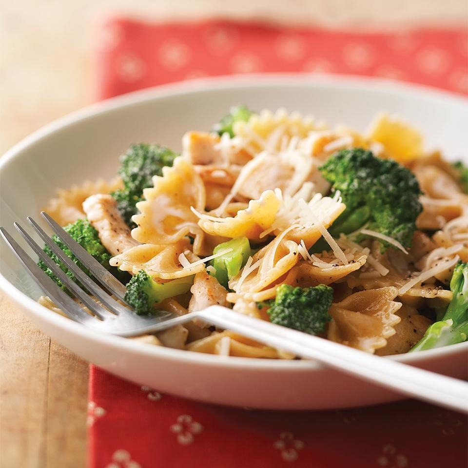 <p>Light mayonnaise makes an easy sauce for the chicken and pasta. It also helps keep the fat and calories down in this recipe.</p>