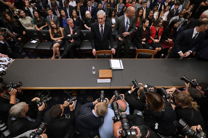 Former Special Counsel Robert Mueller arrives before testifying to the House Judiciary Committee about his report on Russian interference in the 2016 presidential election in the Rayburn House Office Building July 24, 2019 in Washington, DC. (Chip Somodevilla/Getty Images)