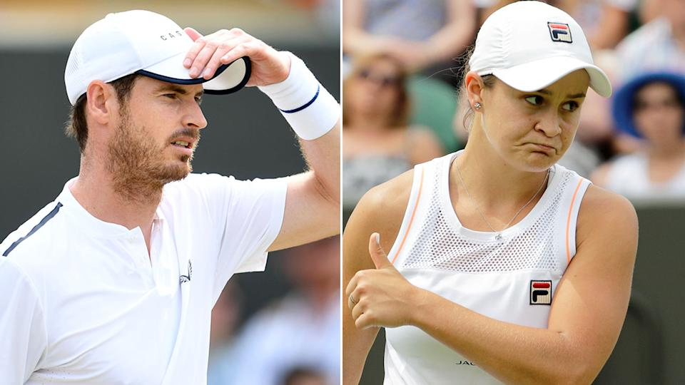 Seen here are tennis stars Andy Murray and Ash Barty.