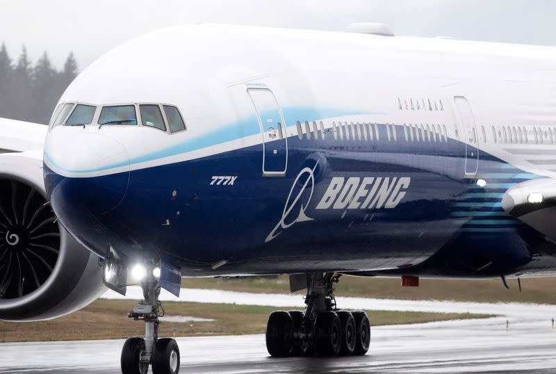 FILE PHOTO: A Boeing 777X airplane taxis during an attempted first test flight from the company's plant in Everett